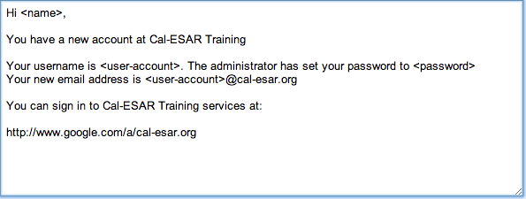 email invitation to cal-esar.org